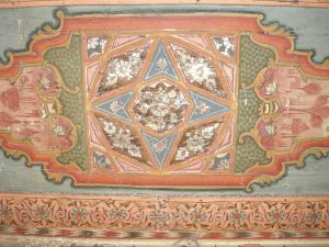 Detail of an Ottoman painted ceiling in the Old City of Damascus