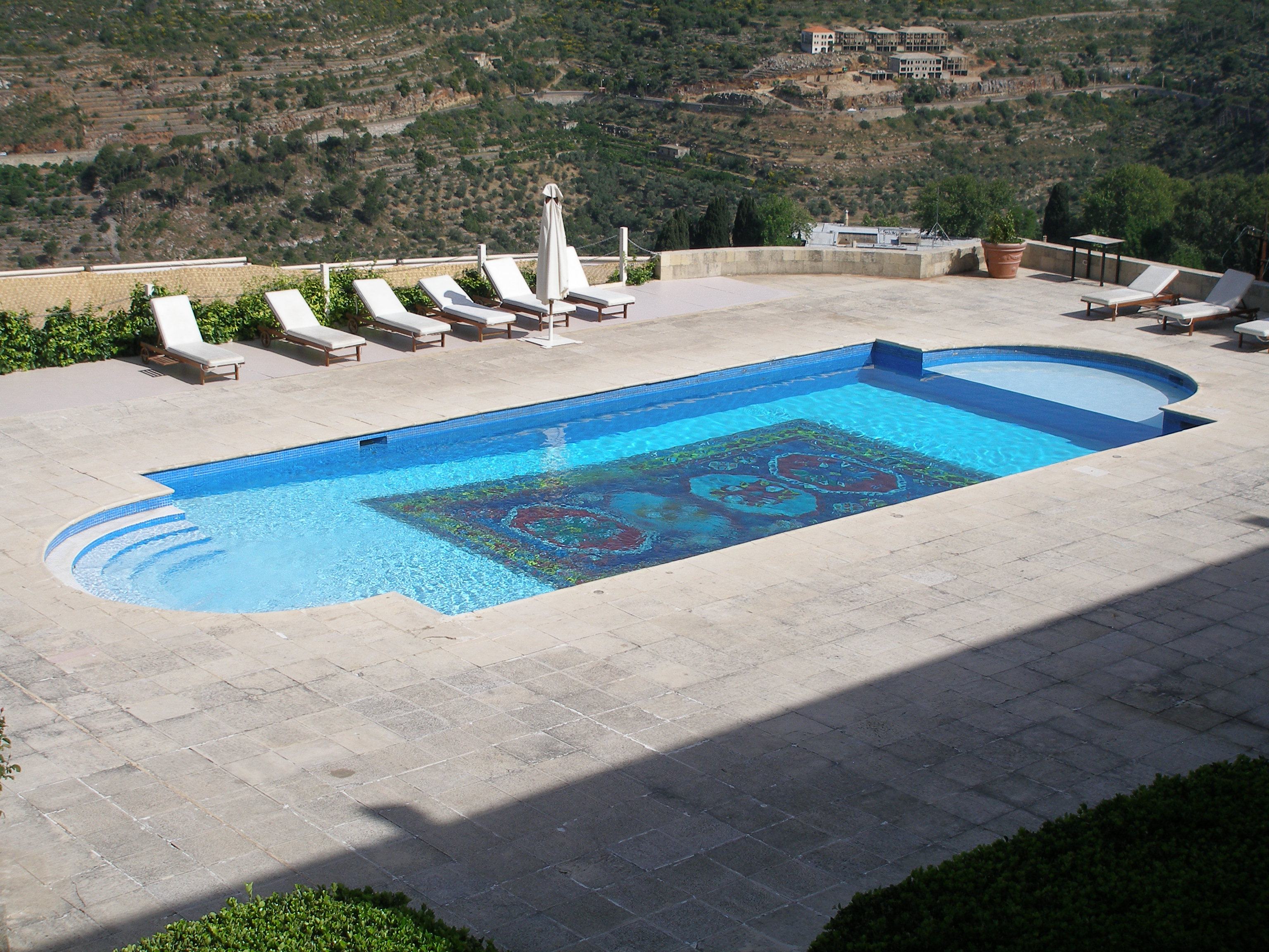 swimming pool terrace of the mir amin palace hotel beiteddine lebanon