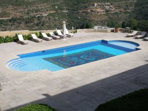 Swimming pool terrace of the Mir Amin Palace Hotel, Beiteddine, Lebanon