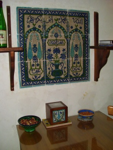Traditional Damascene tiles used decoratively in house restoration