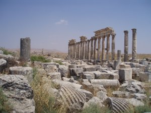 The colonnaded street at Roman Apamea, Syria's largest archaeological site, visited by Mark Antony and Cleopatra  [DD]