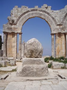 All that remains of St Simeon Stylites' pillar in St Simeon's Basilica west of Aleppo, thanks not to the current fighting, but to Christian pilgrims harvesting 'souvenirs' across the centuries [DD]