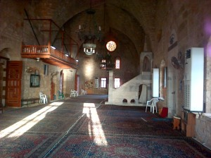 Interior of Sidon's Great Mosque, formerly Church of St John of the Hospitallers - Damascus's Great Mosque was formerly the Cathedral of Jhn the Baptist. [DD, 2014]