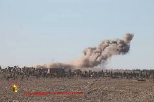 Syrian aircraft dropping barrel bombs to dislodge rebels from the Byzantine Dead City of Shanshara, Idlib Province