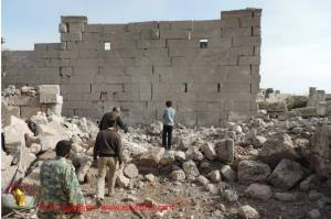 A team goes to document the damage at the Dead City of Shanshara, part of the UNESCO World Heritage site inscribed in June 2011, Idlib Province