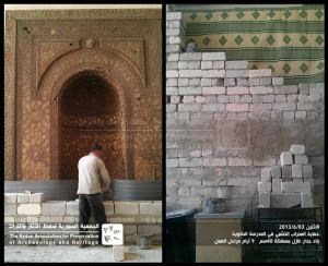 Bricking up the 13th century prayer niche of the Halawiye Madrasa, Aleppo
