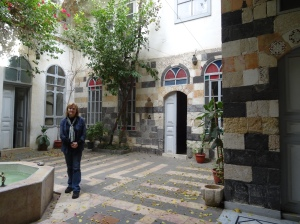 Diana Darke in her Damascus courtyard December 2014