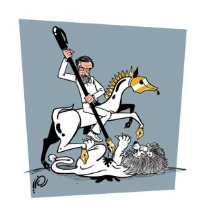 Arab's world most famed cartoonist, Ali Ferzat, drawn as St George killing Assad the lion, alias the dragon, by Ramzi Taweel