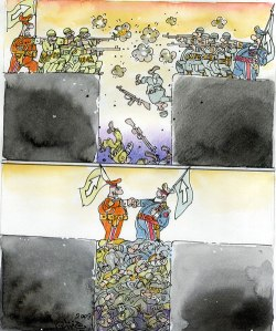 Ali Ferzat cartoon from 2009 re leaders staying in safe places while fighters die