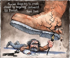 Cartoon of Ali Ferzat fighting with his pen against oppression, by Matt Wuerker