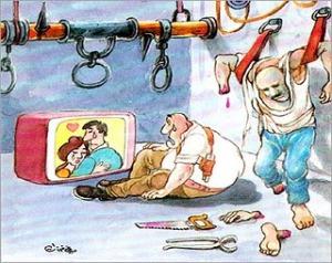 Ali Ferzat cartoon re torturer emotional re TV romance but not re victim