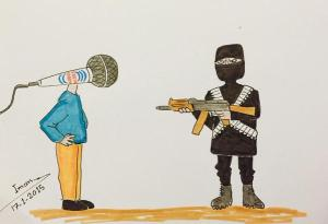 Kafranbel cartoon on ISIS v Free speech with a jihadi shooting the microphone of Radio Fresh at the Kafranbel Media Centre