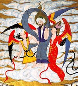 Detail of the Prophet Muhammad in paradise with houris