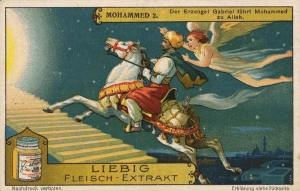 Islamic art German 1928 advert for meat extract (Bovril equivalent) showing Gabriel guiding Muhammad on flying horse to God