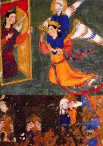 Muhammad carried by Gabriel arriving at gate of paradise guarded by angel Ridwan, 1360-70, Tabriz, Mi'rajnama, now in Topkapi Palace Library