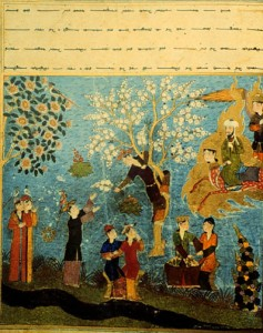 The Prophet Muhammad flies over houris harvesting flowers, Persian 15th c