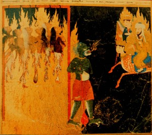 The Prophet Muhammad on his horse Buraq sees women strung up on hooks by their tongues by a green demon, punishment for mocking their husbands and leaving their homes without permission, Persia 15th c