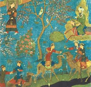 The Prophet Muhammad on his horse Buraq (upper right) visiting Paradise with the Angel Gabriel (upper left). Below are camels ridden by fabled houris, 'virgins' promised to martyrs, Persian 15th c