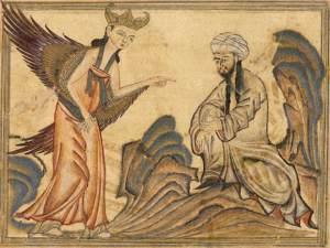 The Prophet Muhammad receiving his first revelation from the Angel Gabriel