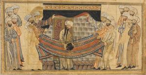 The Prophet Muhammad solving dispute over who should rebuild Kaaba and dedicate black stone - they do it collaboratively on cloth, so all together Tabriz 1307, Edinburgh Univ library