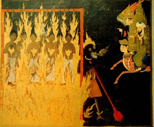 The Prophet Muhammad watching a demon punish shameless women in hell (with Buraq and Gabriel) who have shown hair to strangers, and are strung up and burnt for eternity, Persian 15th c