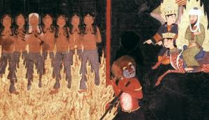The Prophet Muhammad watching a red demon hanging up women by their breasts, as they are engulfed in flames for giving birth to illegitimate children whom they falsely claimed were fathered by their husbands, Persia 15th c