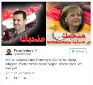 Germany Merkel poster mimicking Bashar's August 2015