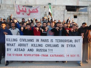 Kafranbel Paris bombings banner