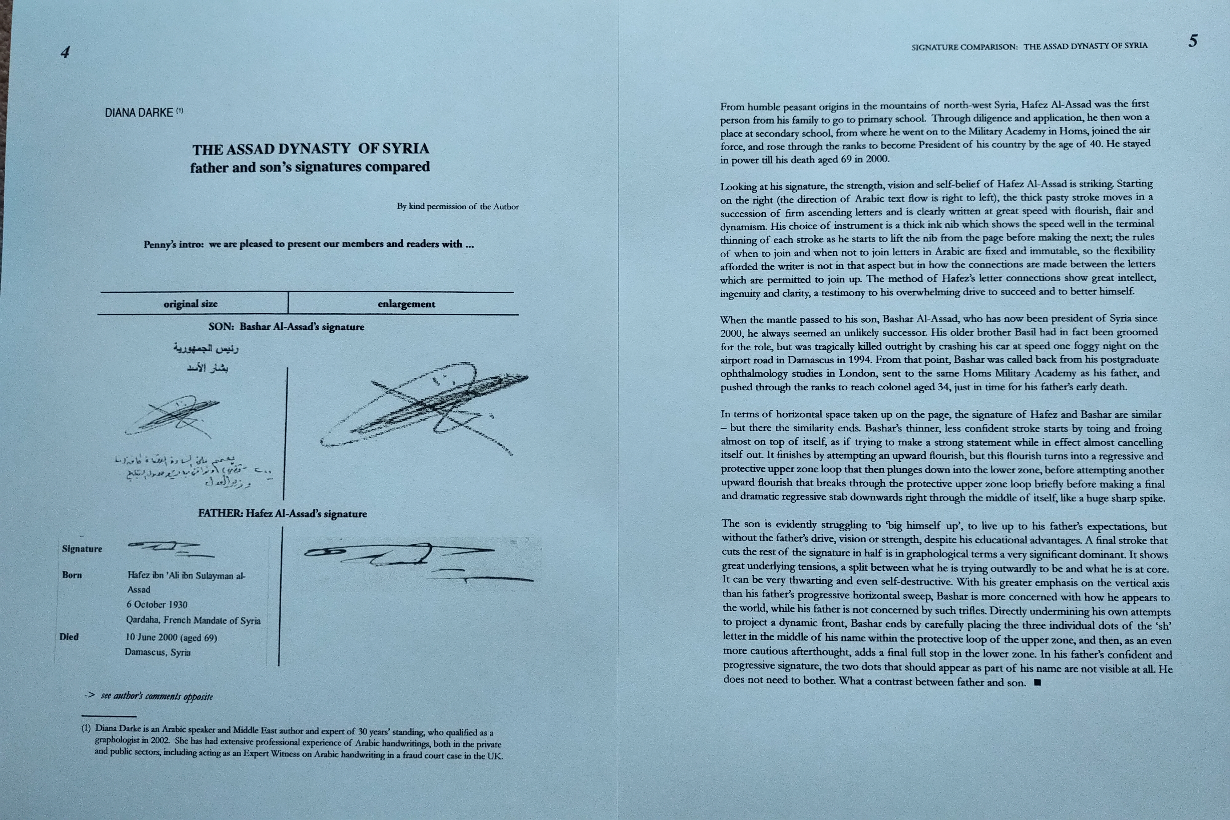 Article in British Academy of Graphology journal June 2012
