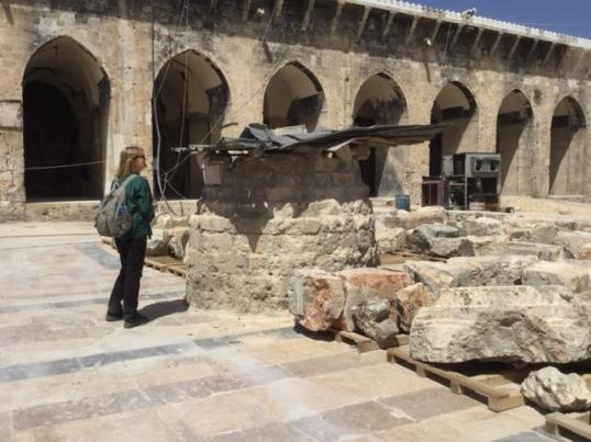 me examining the sun dial still under protection in the courtyard of the great aleppo mosque 18 april 2018 pamela