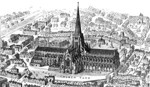 The original St Paul's with the first ever spire in England, completed in 1221