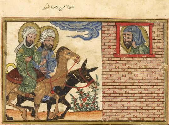 Islamic art image of Jesus on donkey and Muhammad on camel