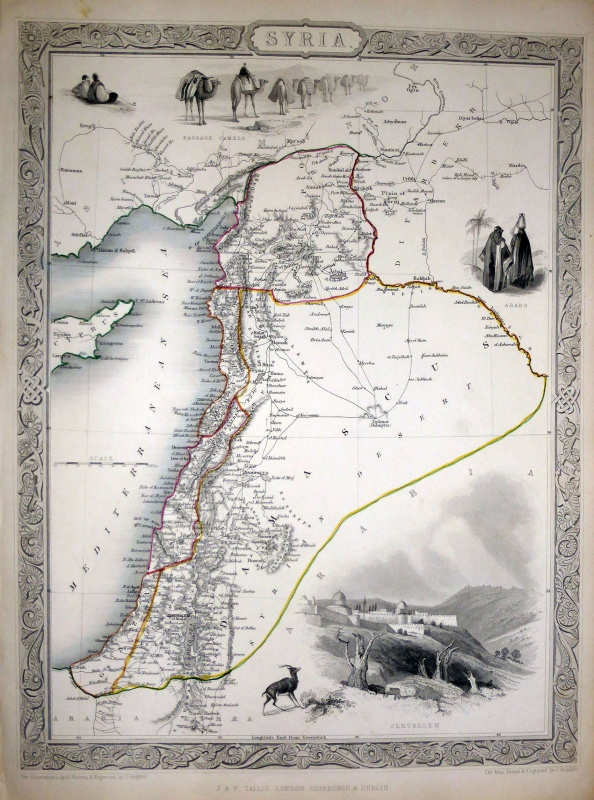 Syria engraving by John Tallis & J.Rapkin, c1851, showing wilayats of Aleppo,Tripoli, Acre, Beirut, Gaza (Diana Darke own copy)