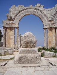 What remained of the pillar of St Simeon Stylites, at the centre of the four basilicas in July 2010. [copyright, Diana Darke]